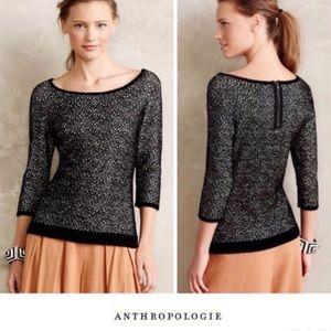 Anthropologie/ Moth Lana Cream & Black Dot Sweater